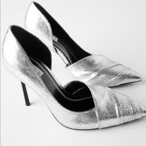 ZARA METALLIC HIGH HEELED SHOES